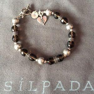 Silpada SS Smokey Quartz Heart Charm Bracelet